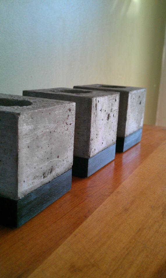 Concrete Block Tea Light Holders
