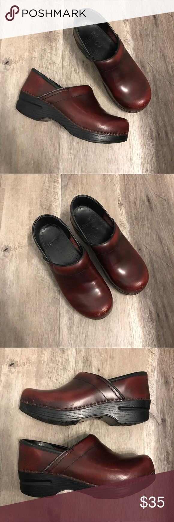 Dansko Shoes Women's Dansko maroon/red/brown Clog shoes. Professional nurse shoes. Size 36 EUR 5.5-6 US. Some scratches/ rubbing but overall in good used condition. See pictures as part of description. Dansko Shoes Mules & Clogs