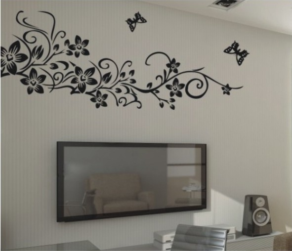 Large black removable flower vine butterfly home mural art decal wall stickers