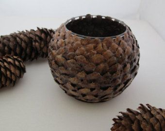 glass vase covered with pine cone petals