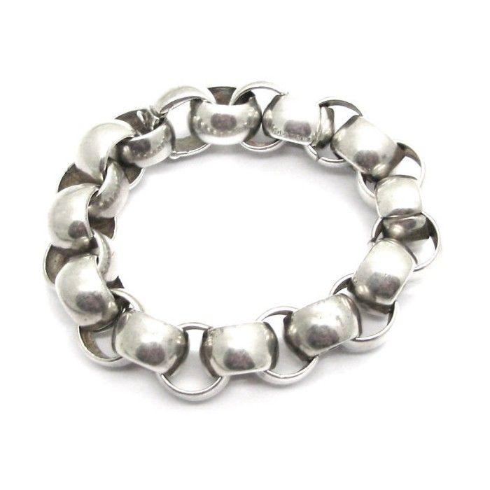 CHANEL, bracelet à maillons inversés en argent massif