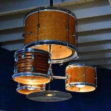 Drum Kit Hanging Lights  Pay tribute to bold decor with these drum kit pendant lights. Group many drums near each other for a big statement, or space them out for added interest. Cymbals giving you problems? Hang them on the wall for extra flash.