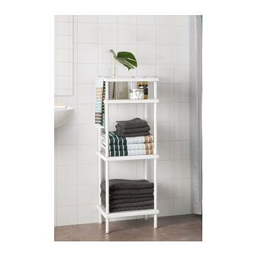 IKEA DYNAN shelf unit with towel rail Perfect in a small bathroom.