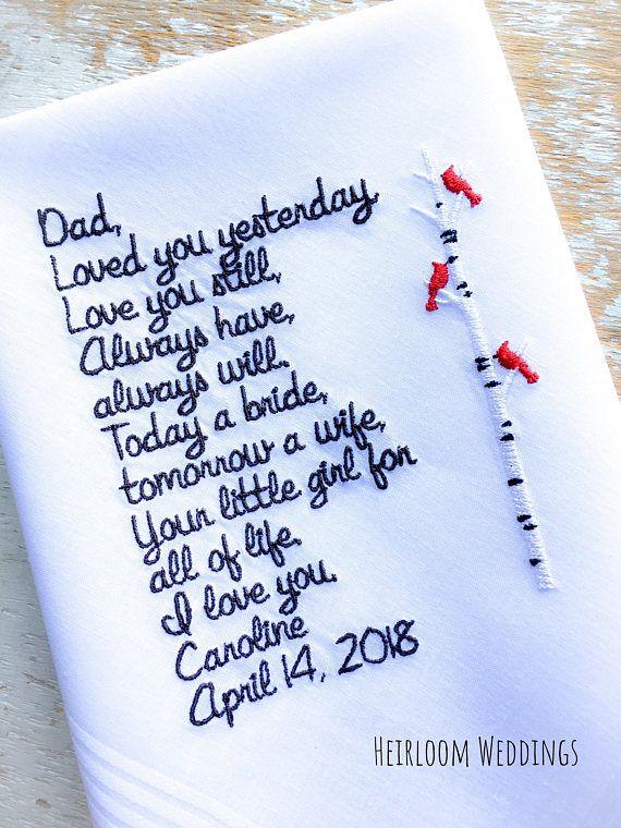 Father of the bride gift Cardinals Wedding Handkerchief