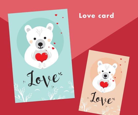 Printable Love Card. Valentine's card. Bear, cute animal. Teddy Bear. Heart, love, valentine... Instant download on Etsy