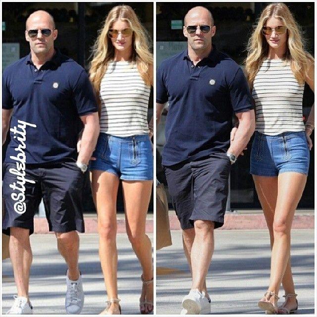 #RosieHuntingtonWhiteley #JasonStatham #victoriassecret #model #angel #supermodel #transformers #legs #shorts #stripes #casuals #offduty #hollywood #handsome #actor #actress #blonde #uk #british #mirandakerr #summer #spring #jeans #denim #fashion #style... - Celebrity Fashion