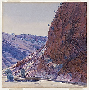 Albert NAMATJIRA, Love's Creek, MacDonnell Ranges c.1948  Hermannsburg, Northern Territory, Australia  Drawing, Watercolour, Technique: watercolour, over black pencil    cs.nga.gov.au