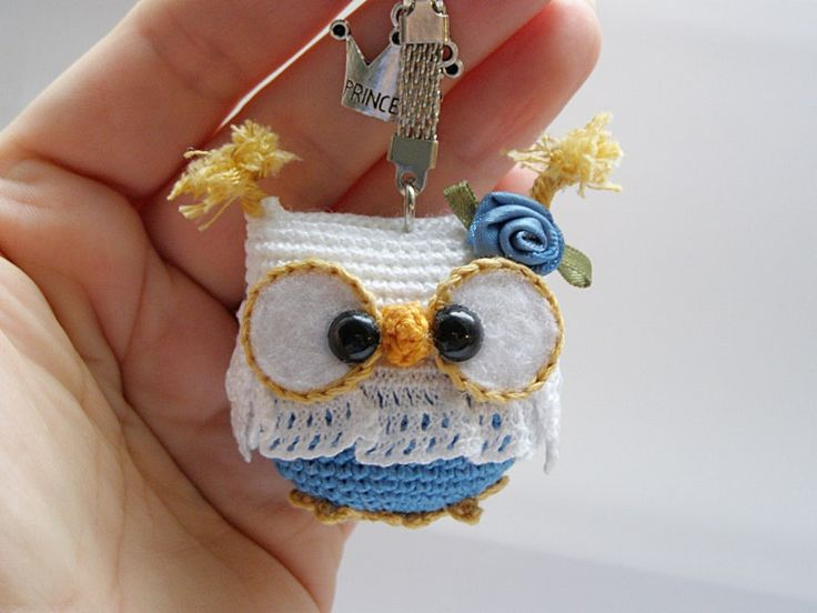 Owl keychain , crochet owl key chain, amigurumi owl toy, bag charm, handbag accessory by Laska by Laska on Etsy