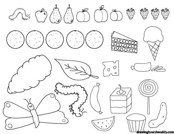 Very Hungry Caterpillar Coloring Page In 2020 The Very Hungry Caterpillar Activities Hungry Caterpillar Activities Hungry Caterpillar Food