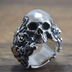 Skull Ringdelicate hand carving925 SolidSterling by ShamblesNagoya