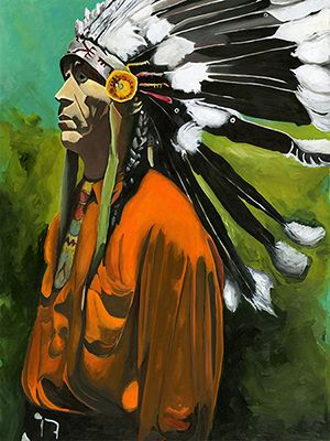 """""""Contemplation"""" Original Native American Indian painting by Angie Carrier.  Acrylic on Panel"""
