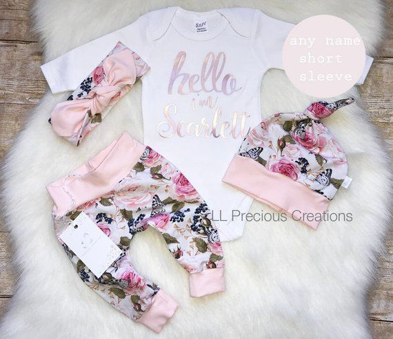 d274c91f9481 Baby Girl Coming Home Outfit Organic Hello World Outfit Newborn Girl Outfit  Personalized Outfit Baby Girl Clothes Pink Floral Euro Print