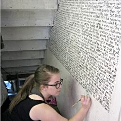 What happens when inspiration meets Harry Potter... an entire chapter of the 7th book gets painted on the wall. For me, it would be a collection of song lyrics.