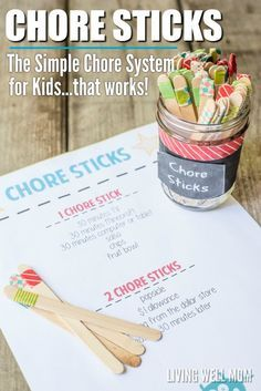 DIY Chore Charts - Free Printable Kids Chore Chart and DIY Family Chore Stick System Tutorial via Living Well Mom