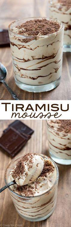 Tiramisu Mousse - an easy no-bake dessert! Layers of tiramisu whipped cream and cocoa powder for the best part of the tiramisu!