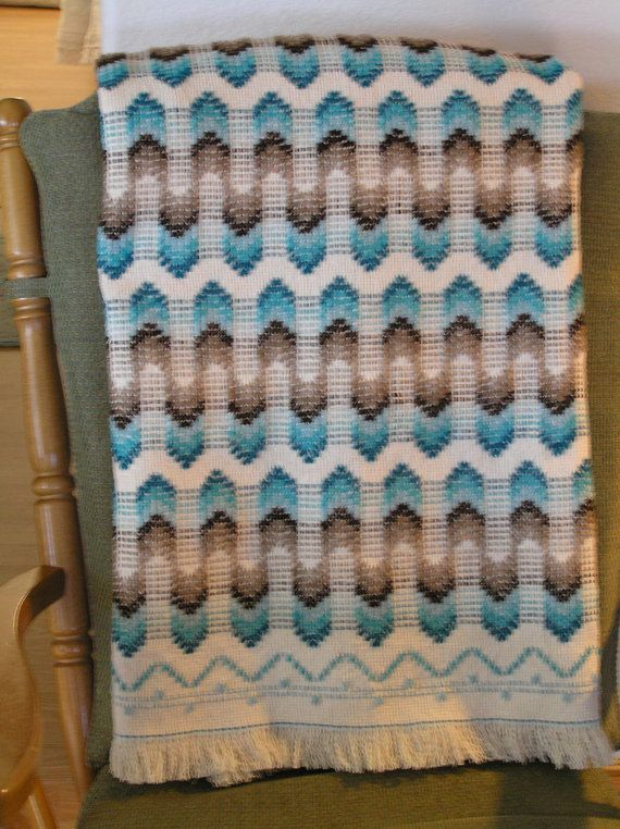 Natural Swedish Weave Blanket by NeenersWeaving on Etsy, $145.00