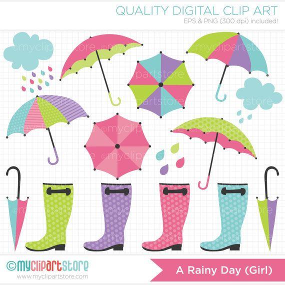April Showers / Rainy Day (Girl) Umbrella Clip Art / Digital Clipart - Instant Download