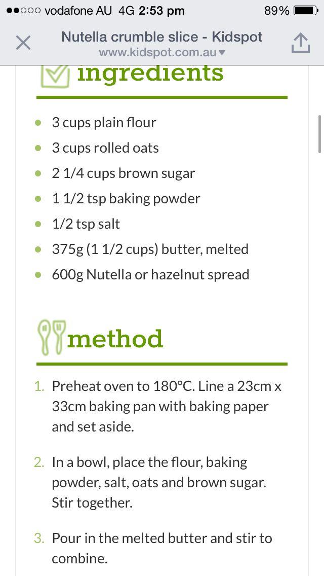 Nutella crumble slice