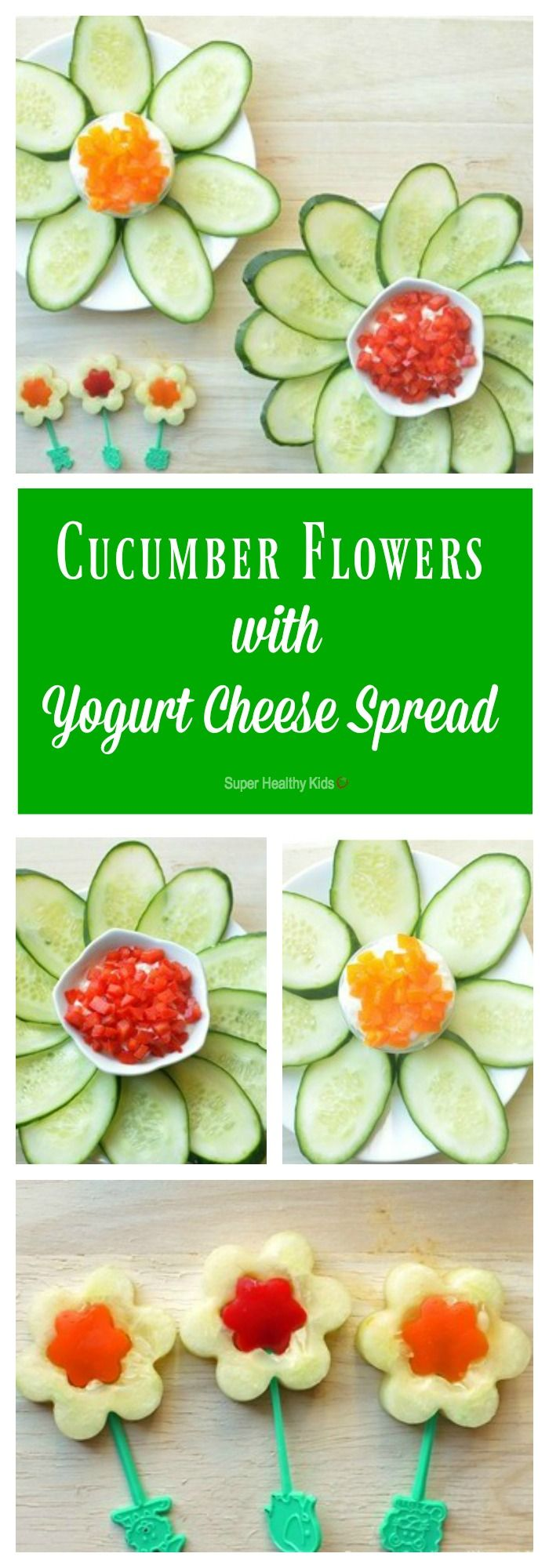 Vegetable carving step by step procedure - Cucumber Flowers With Pepper Yogurt Cheese Spread Strained Yogurt Makes A High Protein Dip