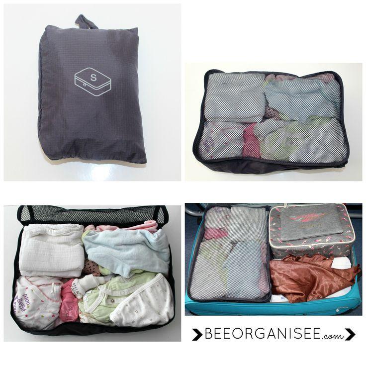 cubes de voyages - sac de rangement : indispensables pour une valise organisée! Les vêtements sont bien compactés et cela évite de trop emporter. Au retour, ils sont également très utiles pour regrouper le linge sale.