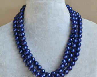 azul marino perla collar de 3 hilos, collar de la novia, Marina de guerra perla. Joyería de la perla, joyería de Dama de honor, boda