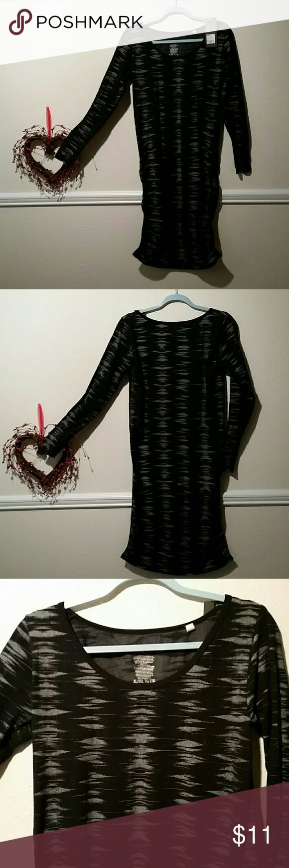 Awesome black and silver scooped neck nylon Never worn black/silver ruched sides dress with scoop neck long sleeved dress. Mossimo Supply Co Dresses Long Sleeve