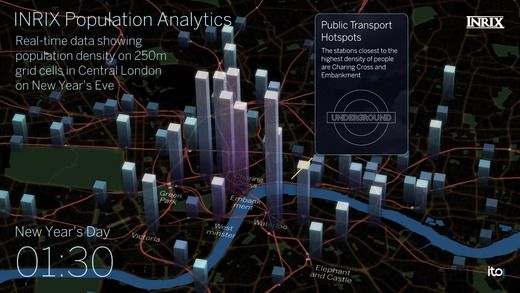 INRIX data visualisation of crowd in London during New Year's eve