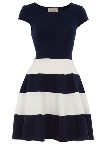Navy skater dress with striped skirt and cap sleeves $55