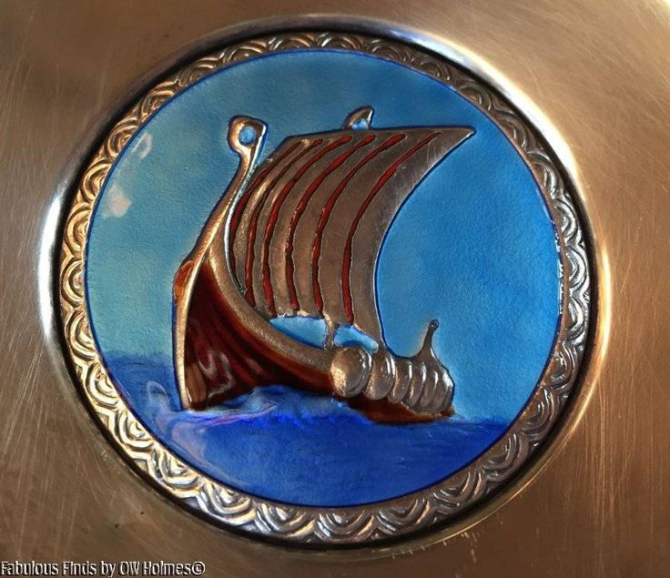 Vintage Norwegian 830 Silver OTTAR HVAL Enamel Viking Ship Dish Bowl