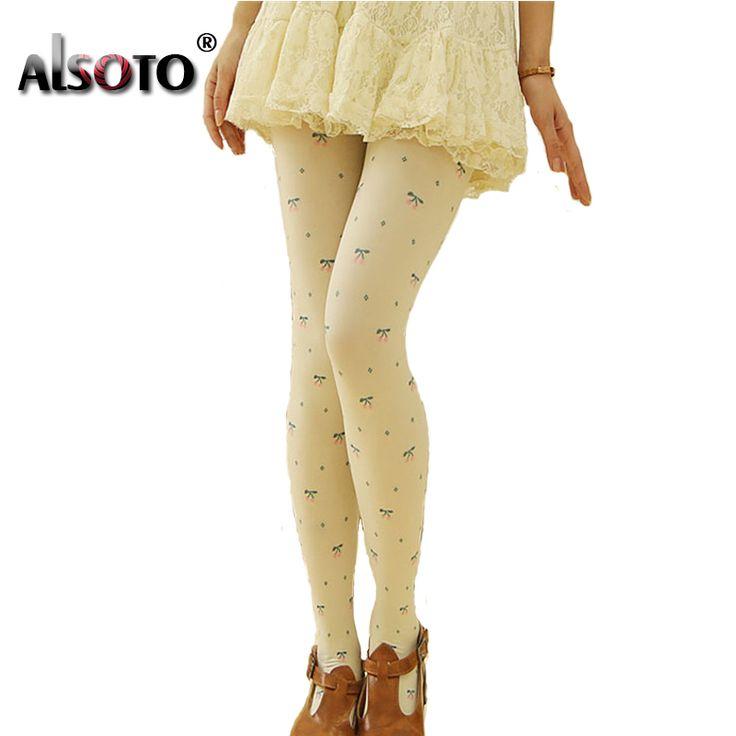 Women warm stockings high quality Cherry Printed pantyhose medias Sexy Slim was thin leggings collant femme Hot Sale