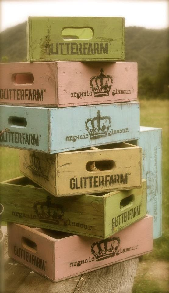 These would be so cute hanging on the walls as shelves! Old Painted Wooden Drink Crates... (555×960)