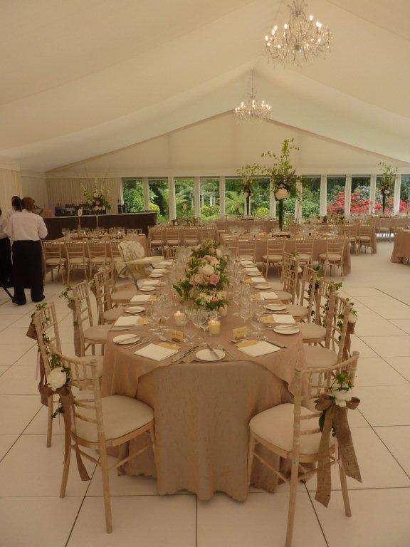 Oval Top Table and burlap bows