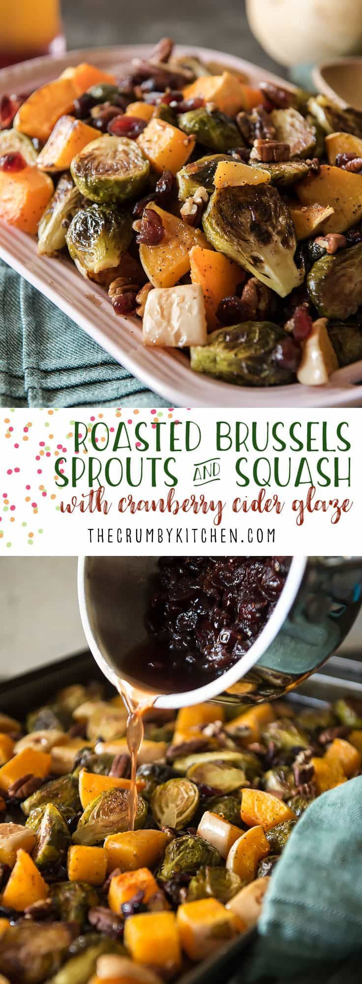 Caramelized veggies, roasted with pecans and tossed with a sweet and tangy glaze - these Roasted Brussels Sprouts & Squash With Cranberry Cider Glaze might be the perfect holiday side dish! #thanksgiving #recipe #Brusselssprouts #recipes #butternutsquash #squash #cranberry #pecans #roasted #applecider #ciderglaze #holiday #christmas #healthy #vegetable #sidedish