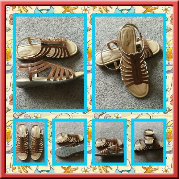 NWOB Brown Woman's Sandals Size 10 Brand New Never Worn Sandals Size 10 Medium. The Color Is Cognac. There's A Memory Foam Footbed For Added Comfort. Very Stylish And In Excellent Condition. POSTED ON MER_CARI CODE:  CQUAAW  Comfortview  Shoes Sandals