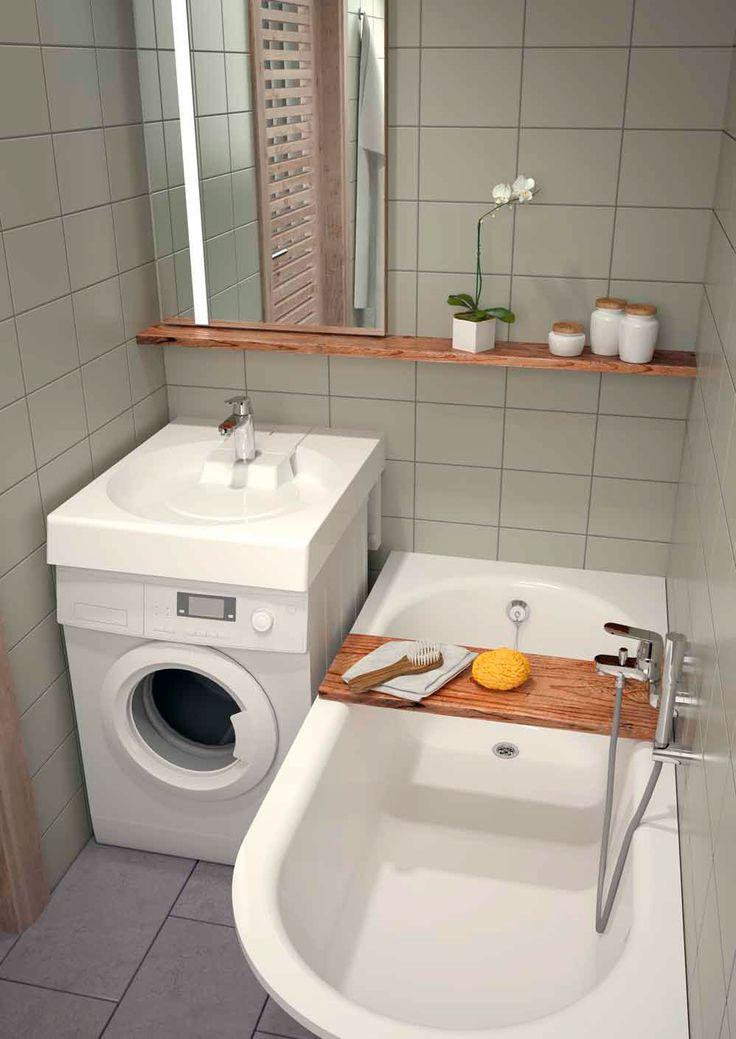 Компактная ванная комната с квадратной раковиной над стиральной машиной