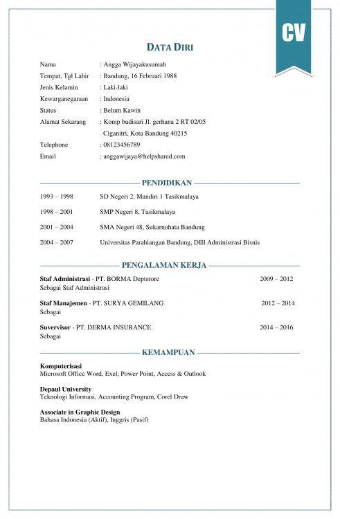 contoh CV lamaran kerja   asniyanti