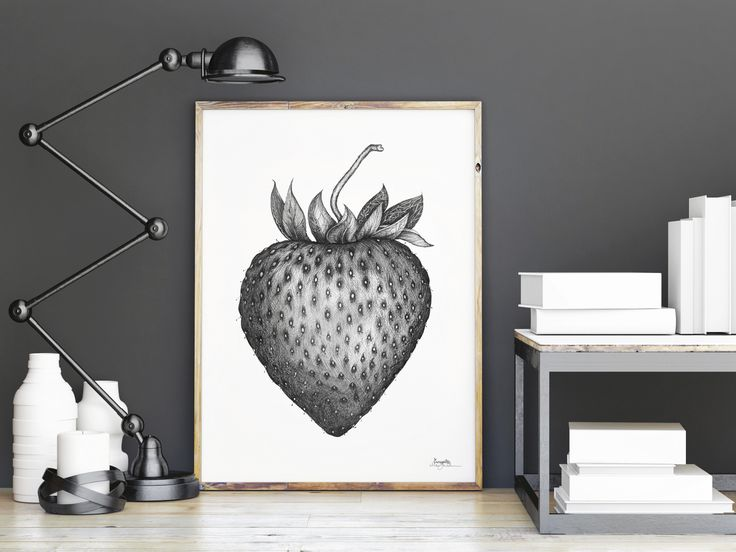 """Jordbær"" (Strawberry) Copyright: Emmeselle.no Illustration by Mona Stenseth Larsen"