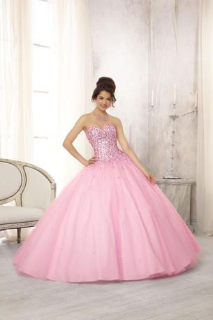 Vizcaya Quinceanera by Mori Lee - 88084 A multi-Colored Jewel Beaded Bodice on a Tulle Ball Gown Skirt with Matching Bolero coming in pucker up pink, white and light blue at Estelle's Dressy Dresses! #estellesdressydresses