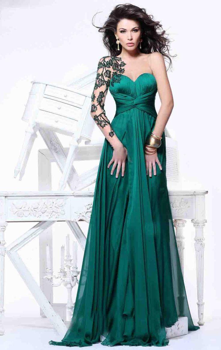 unique-dark-green-applique-one-sleeve