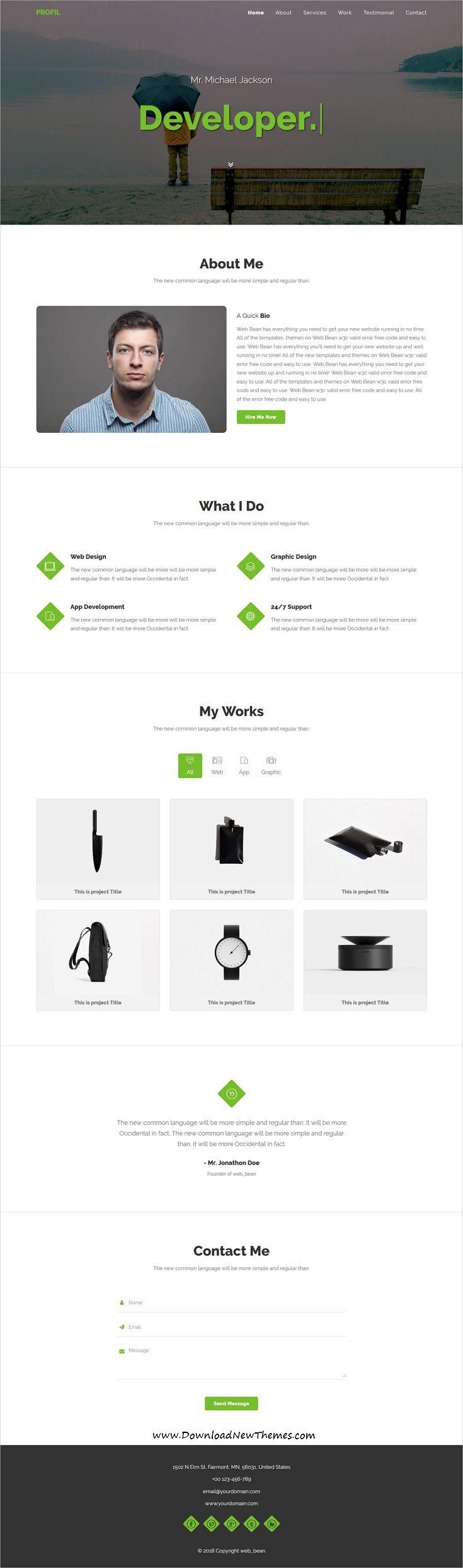 Profil Personal Portfolio Html5 Template Web Design Html5 Templates Web Design Tips