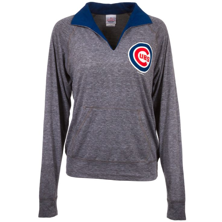 Chicago Cubs Womens Blue and Grey Polo Style Long Sleeve by 5th & Ocean #Chicago #Cubs #ChicagoCubs