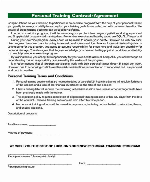 Personal Training Contracts Template Best Of 43 Contract Agreement Formats Contract Template Smart Goals Template Marketing Plan Template