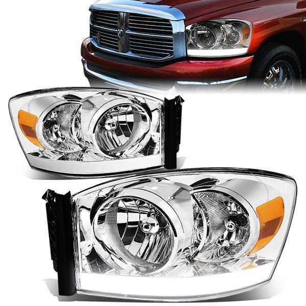 06 09 Dodge Ram 1500 2500 3500 Led Drl Headlights Chrome Housing Amber Corner Dodge Ram Dodge Ram 1500 Dodge