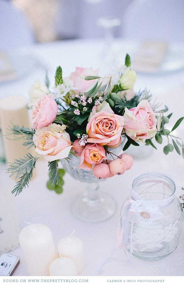 Pastel pink & peach flower arrangements