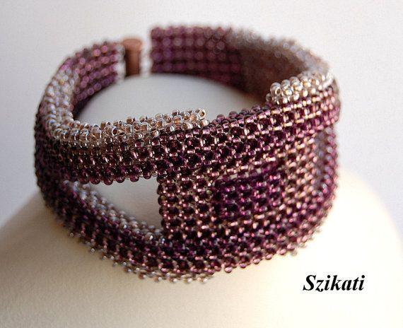 Beige/Eggplant Seed Bead Statement Bracelet Wearable by Szikati