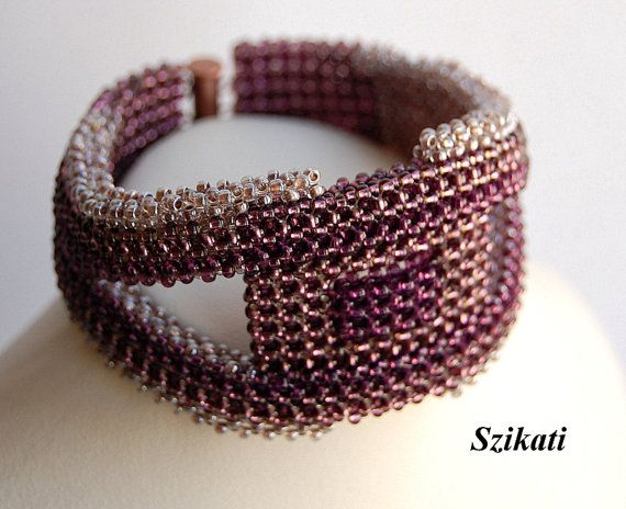 FREE SHIPPING Beige/Eggplant Seed Bead Women's Bracelet by Szikati