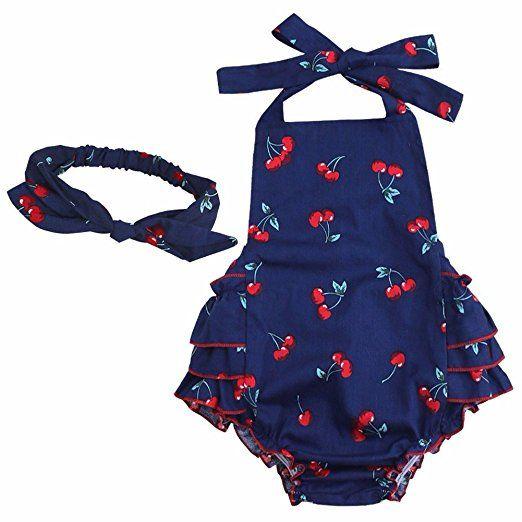 YiZYiF Baby Kleinkind Spielanzug Overall Bodies Anzug Mädchen Bekleidung Set mit Stirnband Marineblau + Kirsche 6 Monate, 9,99 Euro, Amazon.de