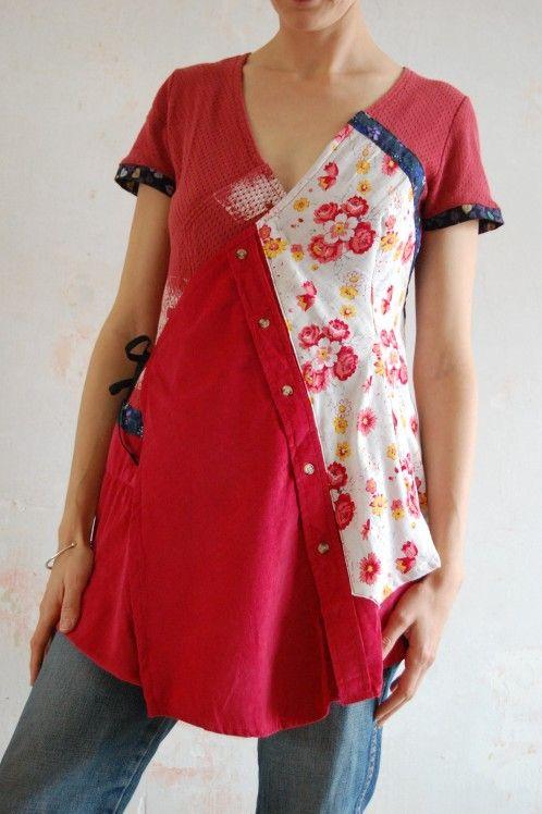 Tunique rouge mélange de chemise et teeshirt avec ceinture japonisante | Chèresloques, créateur de vêtements