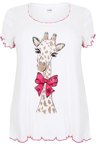 Ivory Pretty Giraffe Print Pyjama Top, Plus size 14 to 36