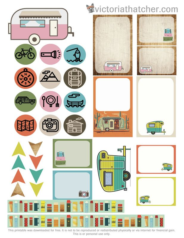 Free Printable Camping 2 Planner Stickers from  Victoria Thatcher